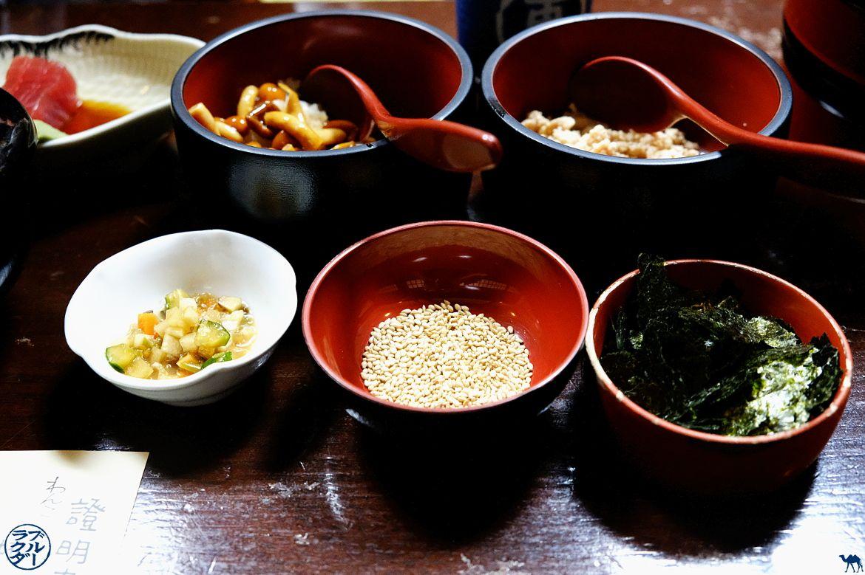 Accompagnement des wanko Soba spécialité de Morioka dans le Tohoku - Le Chameau Bleu