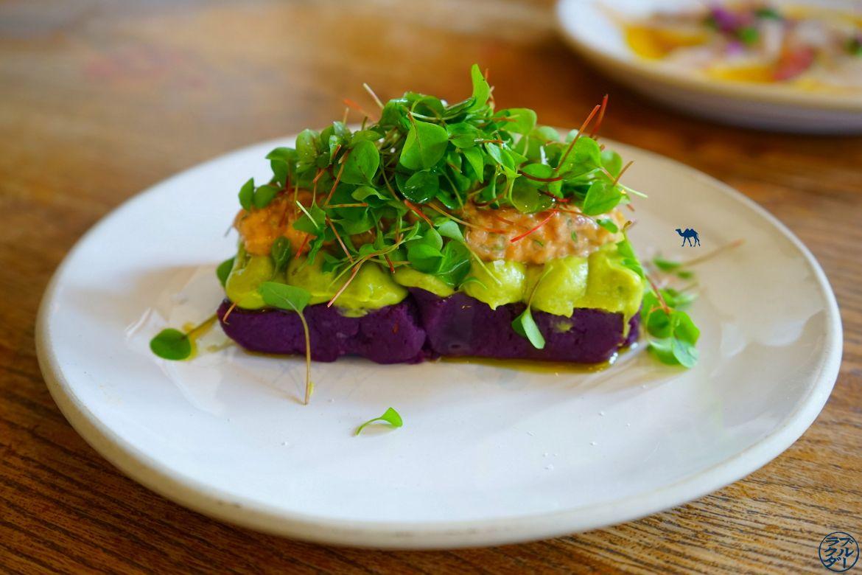 Plat péruvien Causa Puno - Restaurant Andina à Londres - Le Chameau Bleu Causa Puno
