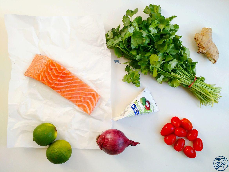 Le Chameau Bleu - Blog Cuisine et Voyage - Ingrédients du Tartare de Saumon à la tahitienne
