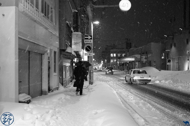 Le Chameau Bleu - Blog Voyage Aomori Japon - Les rues d'Aomori la nuit sous la neige - Tohoku - Japon