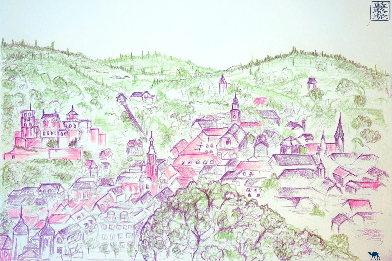 Le Chameau Bleu - Blog Voyage Heidelberg Allemagne - Croquis de Heidelberg - Balade en Allemagne
