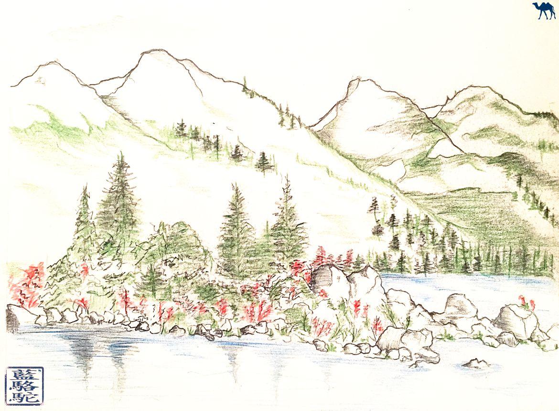 Le Chameau Bleu - Blog Voyage Canada Colombie Britannique - Croquis du Garibaldi Lake Colombie Britannique