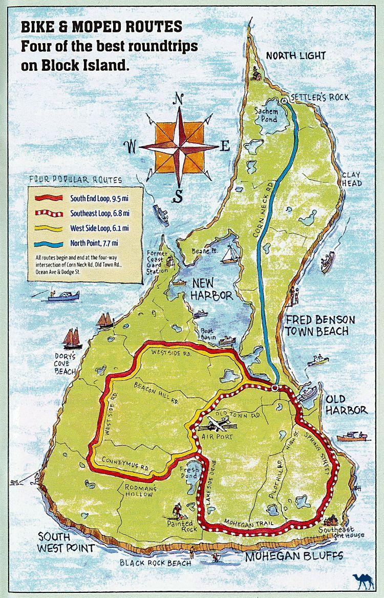 Le Chameau Bleu - Blog Voyage Block Island - Carte de Block Island - Rhode Island