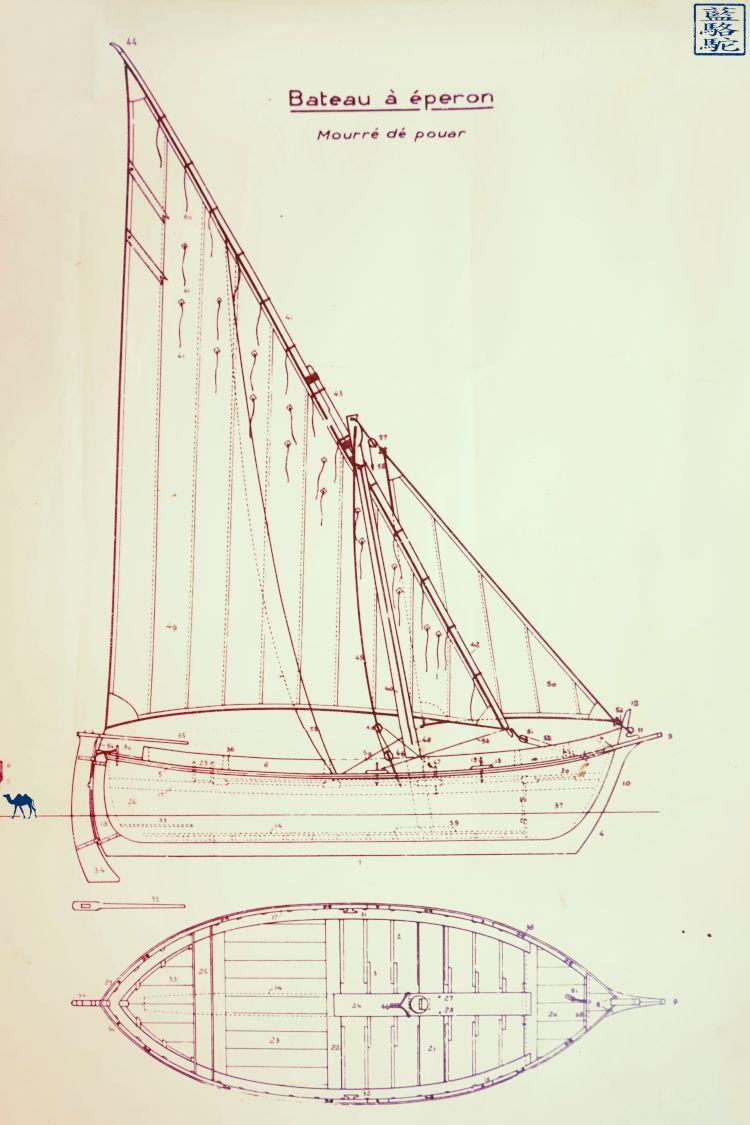 Le Chameau Bleu - Blog Voyage Var Brusc - Plan de bateau à Eperon - Brusc