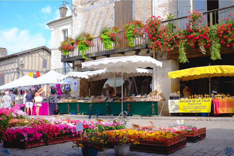 Le Chameau Bleu - Blog Voyage Lot Et Garonne - Fleurs du marché de Villeréal