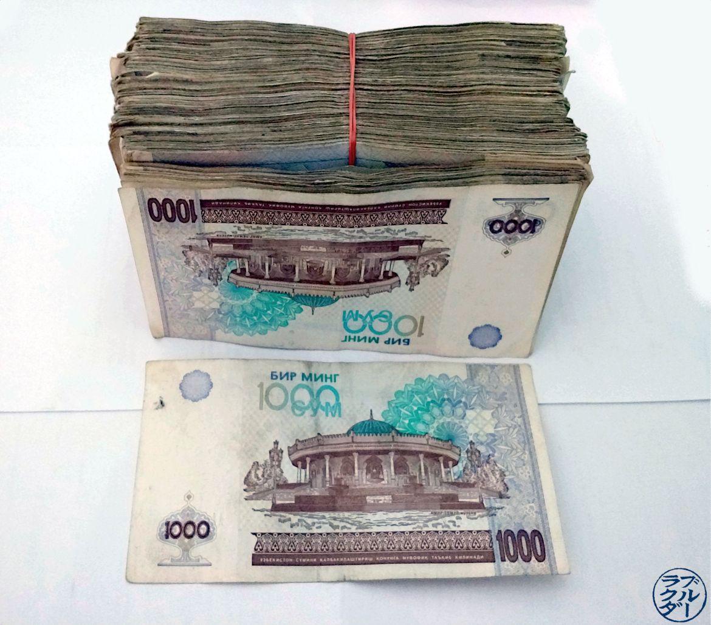 Le Chameau Bleu - Blog Voyage Informations sur l'Ouzbékistan - Liasse de sum représentant 100 dollars US