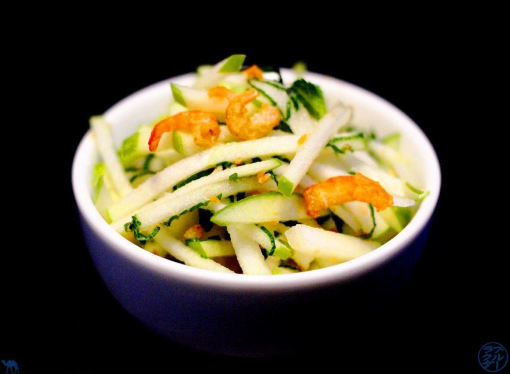 Le Chameau Bleu - Blog Voyage et Gastronomie - Salade GRANNY SMITH/ MENTHE/ CREVETTE