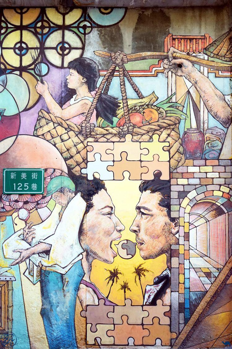 Le Chameau Bleu - Blog Voyage Tainan Taiwan - StreetArt Mur